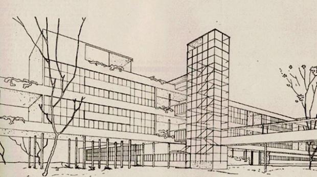 Narkomfin Building, Moscow, 1928-1932, Moisei Ginzburg