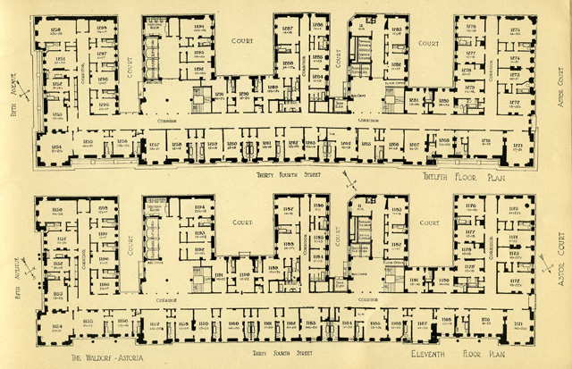 walford astoria hotel, new york, original plans (c.1910)