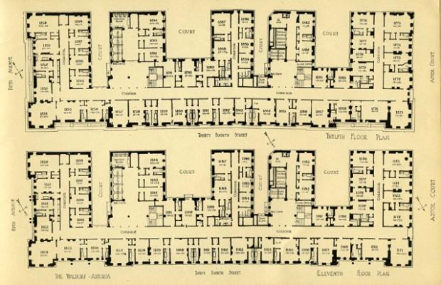 walford astoria hotel, new york, original plans (c.1910)