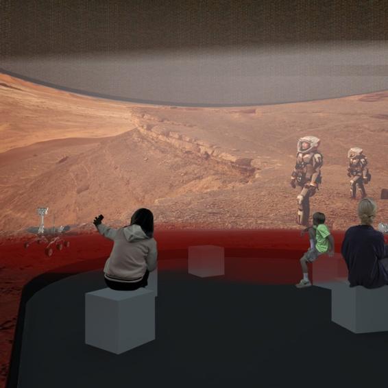 vista prospettica dell'area dell'installazione multimediale
