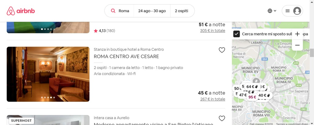 airbnb screen shot 2 (ave cesare room per 2 persone in rome)